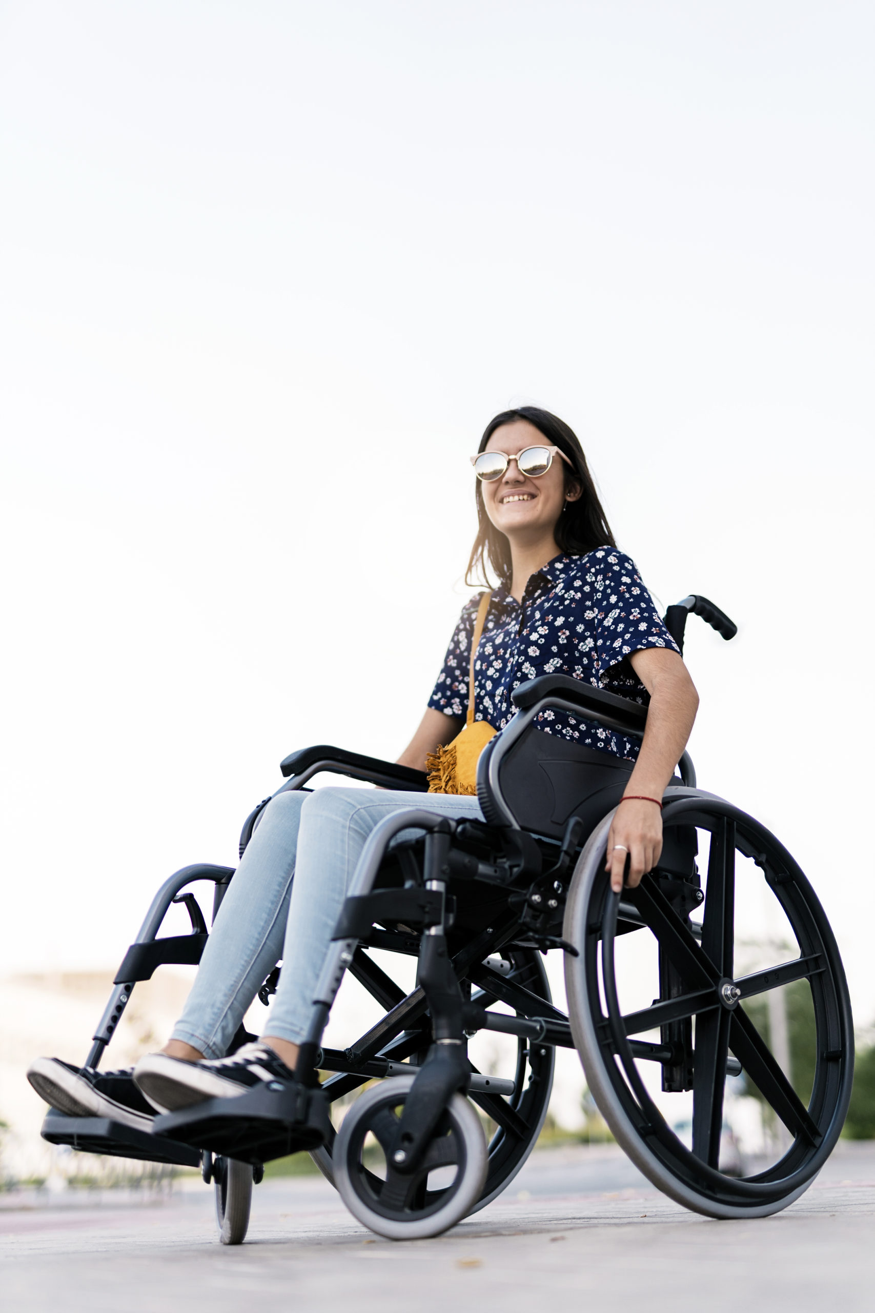 Portrait of beautiful woman on wheelchair